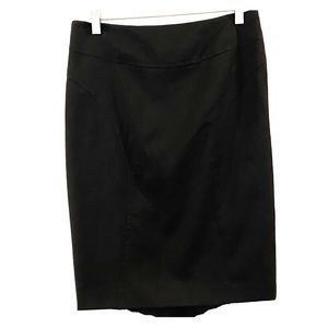 Black Pencil Skirt with Back Pleats